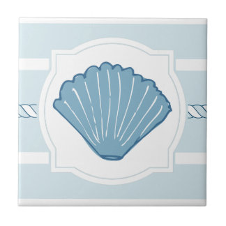 Blue ocean seashell nautical stripes ceramic tile