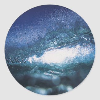 Blue ocean surfing wave sticker
