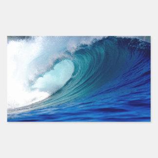 Blue ocean surfing wave rectangle sticker