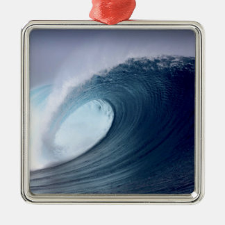 Blue ocean surfing wave tropical island christmas ornament