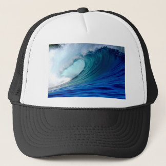 Blue ocean surfing wave trucker hat