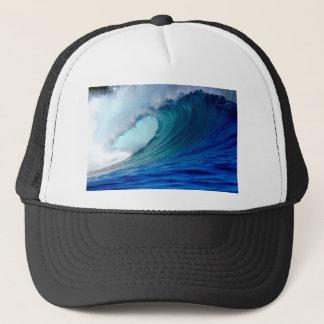 Blue ocean surfing wave trucker hat
