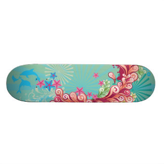 Blue ocean swirls design girls skateboard