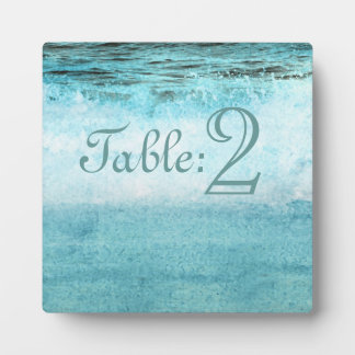Blue Ocean Waves Beach Table Number Plaque