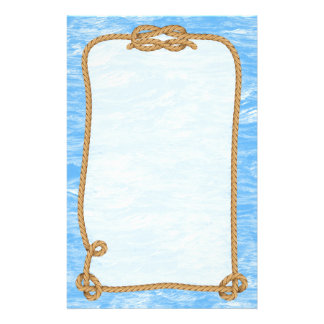 Blue Ocean Waves With Nautical Rope Border Customized Stationery