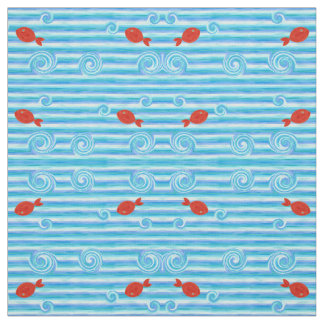 Blue ocean waves with red fishes fabric