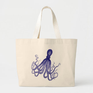Blue Octopus 5 Large Tote Bag