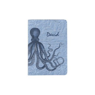 Blue Octopus Custom Passport Holder