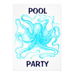 Blue Octopus Pool Party Invites
