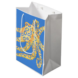 Blue Octopus Stained Glass Medium Gift Bag