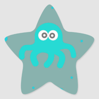 Blue Octopus Star Sticker