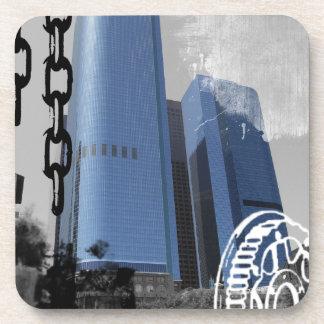Blue Office Buildings Beverage Coasters
