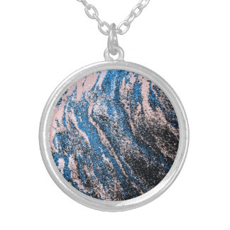 Blue Oil Abstract Design Silver Plated Necklace