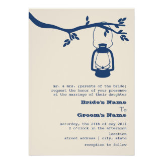 Blue Oil Lantern Wilderness Camping Wedding Custom Announcements