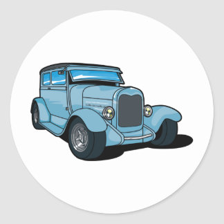 Blue Old Car Classic Round Sticker