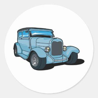 Blue Old Car Round Sticker