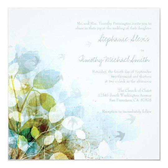 Blue olive green foliage birds wedding invitation