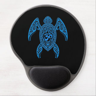Blue Om Sea Turtle on Black Gel Mouse Mat