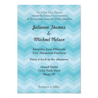 """Blue Ombre Chevron 5"""" X 7"""" Invitation Card"""