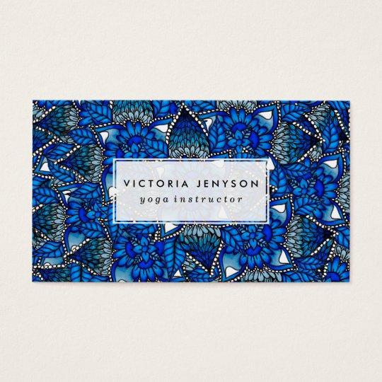 Blue ombre floral watercolor mermaid mandala business card