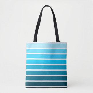 Blue Ombre Gradient Colorful Stripe Tote Bag