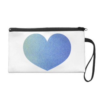 Blue Ombre Heart Glitter Sand Look Wristlet