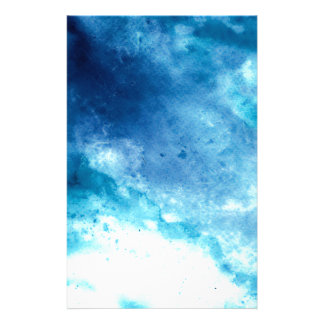 Blue Ombre Inkblot Splatter Watercolor Pattern Stationery Paper