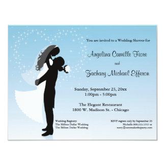 Blue Ombre Silhouette Formal Shower Invitation