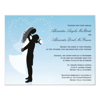 Blue Ombre Silhouette Formal Wedding Invite