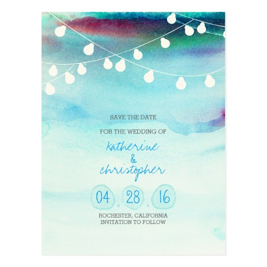 blue ombre watercolor beach save the date postcard