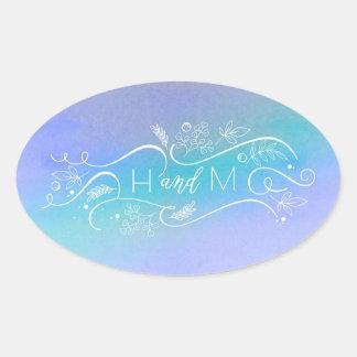 Blue Ombre Watercolors Elegant Modern Wedding Oval Sticker