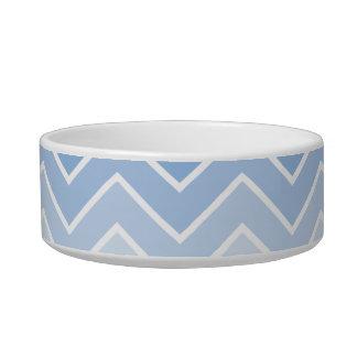 Blue Ombre Zig Zag Chevron Pattern Pet Bowls