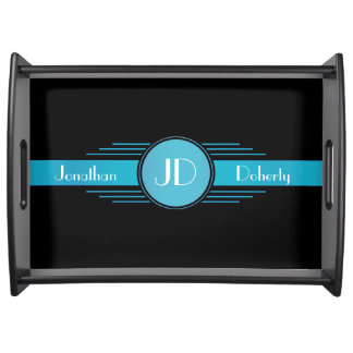Blue on Black Art Deco Monogrammed Serving Tray