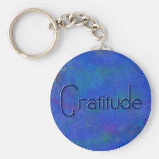 Blue on Blue Block Gratitude Keychain