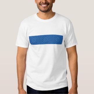 Blue on blue flower kaleidoscope pattern t-shirt