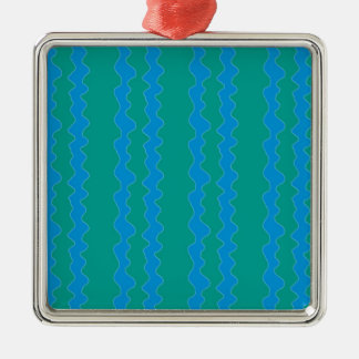blue on green Silver-Colored square decoration