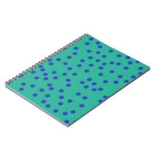 Blue On Green Spotty Notebook