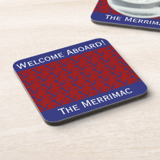 Blue on Red Leaning Anchors Personalized Coaster