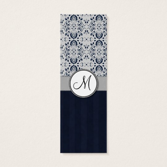 Blue on Silver Damask w Navy Stripes and Monogram Mini Business Card