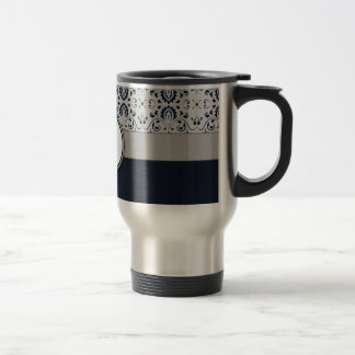 Blue on Silver Damask w Navy Stripes and Monogram Stainless Steel Travel Mug