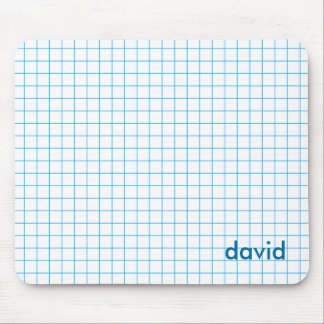 Blue on White Grid Mouse Pads