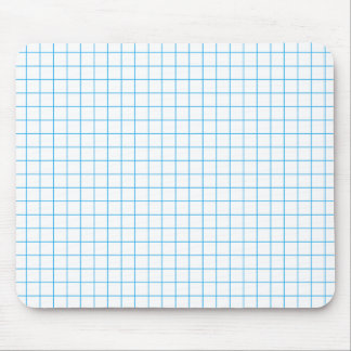 Blue on White Grid Mouse Pad