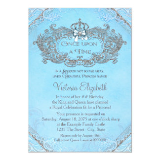 Blue Once Upon a Time Princess Birthday 13 Cm X 18 Cm Invitation Card