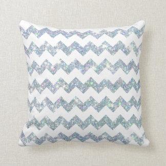 Blue Opal Glitter White Chevron Throw Pillow Cushions