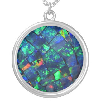Blue Opal Image Large Silver Plated Round Necklace