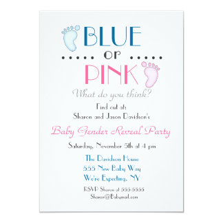 Blue or Pink Baby Feet Gender Reveal Invitation