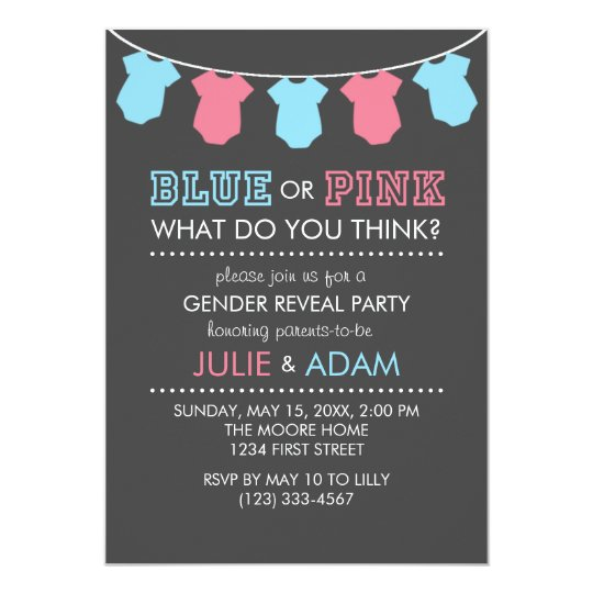 gender reveal party invitations & announcements | zazzle.co.uk, Party invitations