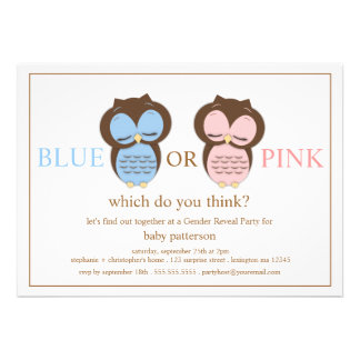 Blue or PInk Little Owls Baby Gender Reveal Party Custom Announcements