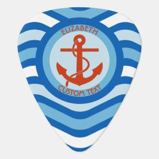 Blue Orange Anchor Sailor Guitar Pick