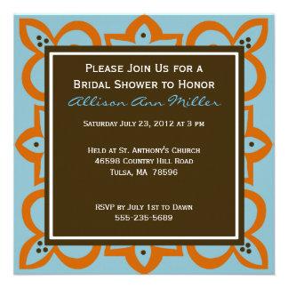 Blue Orange and Brown Invitation